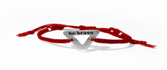 Bravelet red bracelent with inscription Be Brave